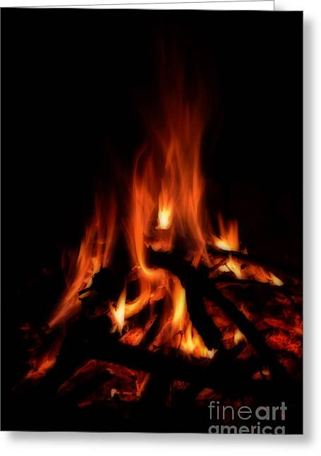 The Fire Greeting Card by Donna Greene