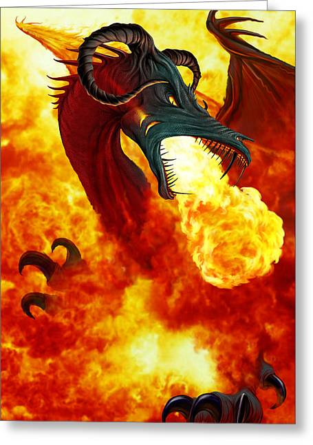 The Fire Dragon Greeting Card by The Dragon Chronicles - Garry Wa