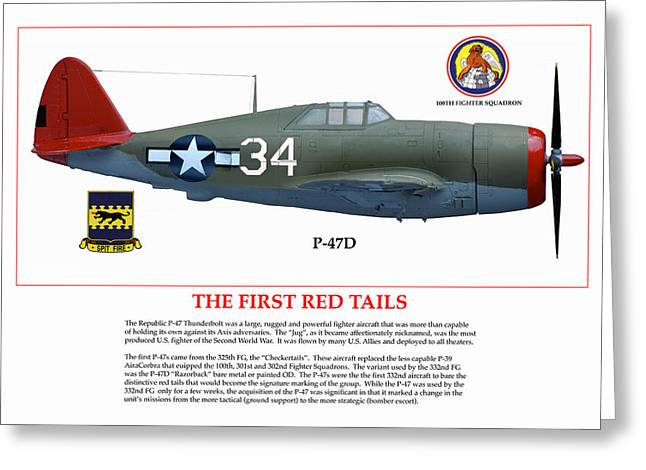 The First  Red Tails Greeting Card by Jerry Taliaferro