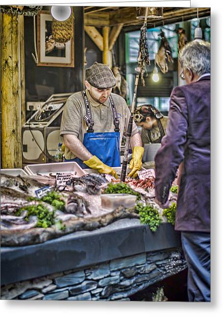 The Fish Monger Greeting Card by Heather Applegate