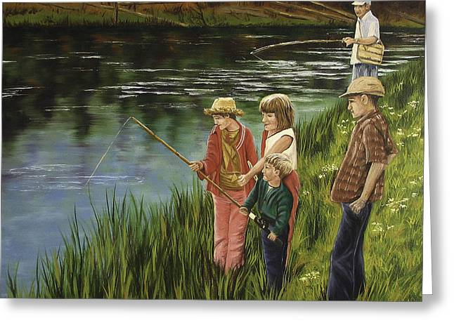 The Fishing Lesson Greeting Card by Darla Sittman