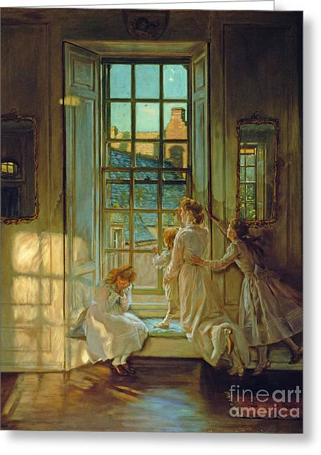The Flight Of The Swallows Greeting Card by John Henry Lorimer
