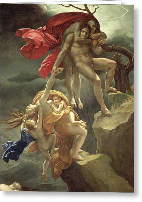 The Flood Greeting Card by Anne Louis Girodet de Roucy-Trioson