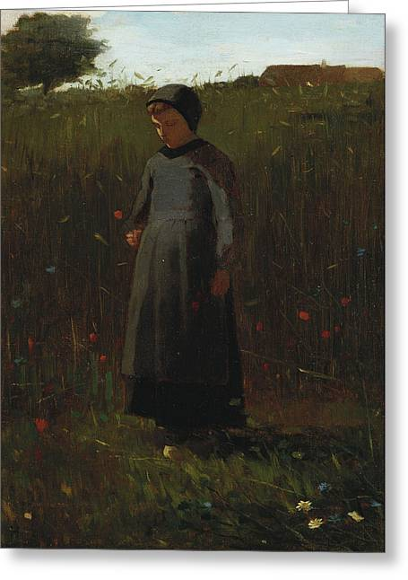 The Flowers Of The Field Greeting Card by Winslow Homer