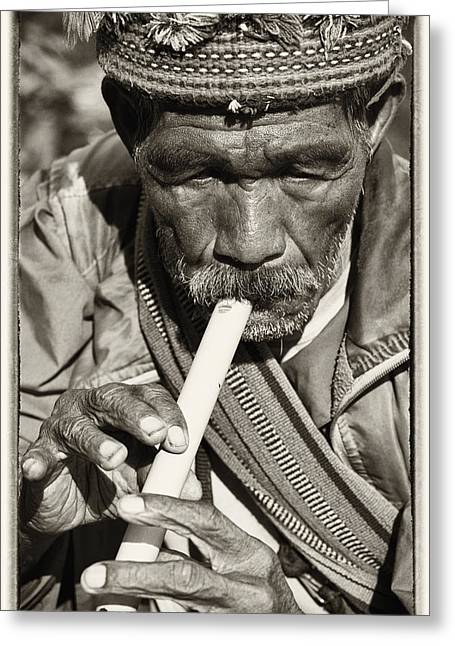 The Flute Greeting Card by Skip Nall