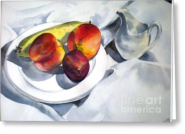 Greeting Card featuring the painting The French Breakfast by Sandra Phryce-Jones