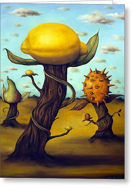 The Fruit Orchard Greeting Card by Leah Saulnier The Painting Maniac