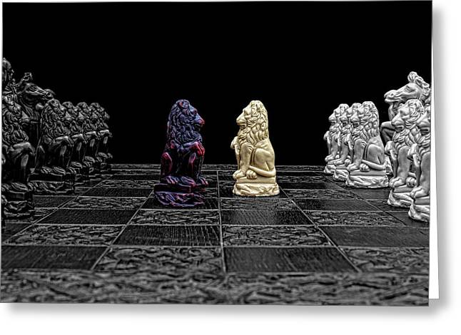 The Game Begins Greeting Card by Doug Long