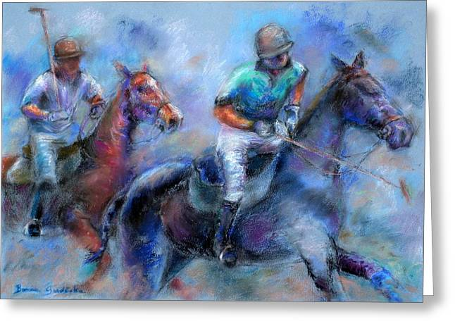Greeting Card featuring the pastel The Game Is On by Bonnie Goedecke
