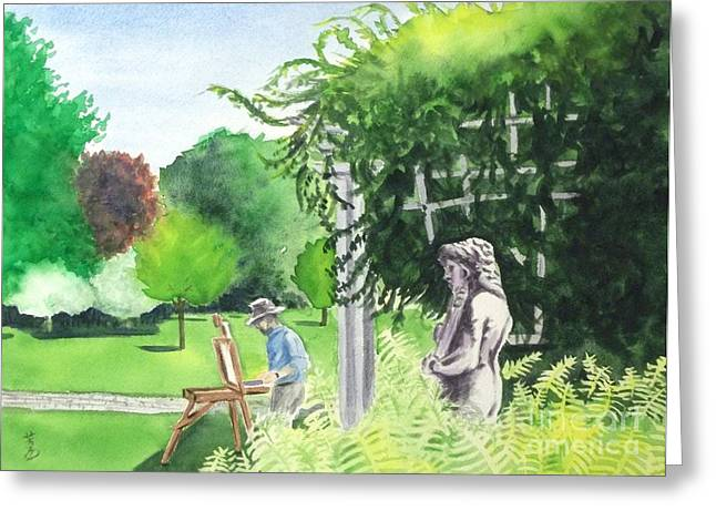Greeting Card featuring the painting the garden at the wellers carriage house in Saline  Michigan 1 by Yoshiko Mishina