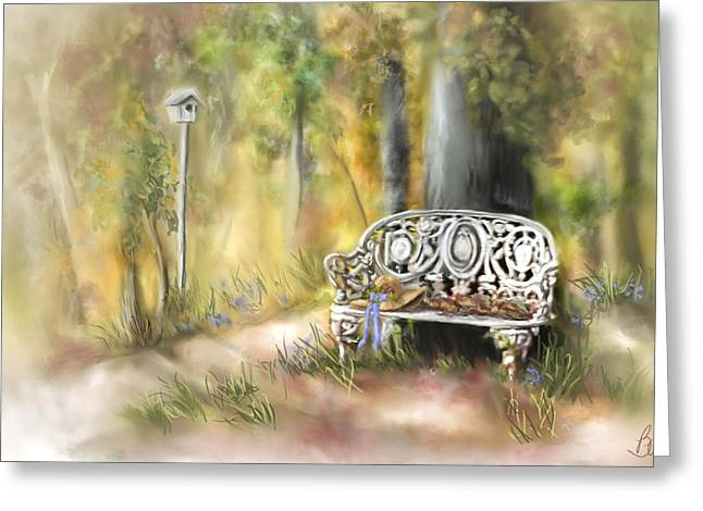 Greeting Card featuring the painting The Garden Bench by Bonnie Willis