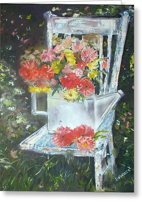 Greeting Card featuring the painting The Garden Chair by Raymond Doward