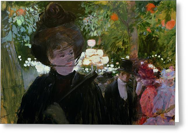 The Garden In Paris Greeting Card by Jean Louis Forain