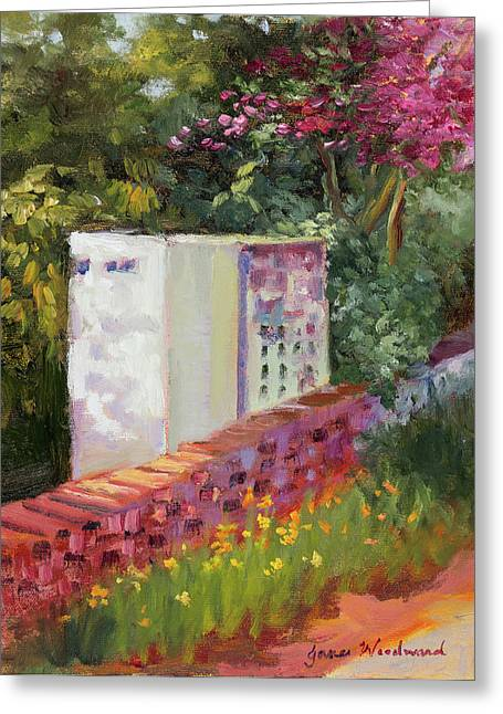 The Garden Wall Greeting Card by Jane Woodward