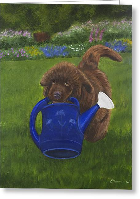 The Gardening Assistant Greeting Card by Sharon Nummer