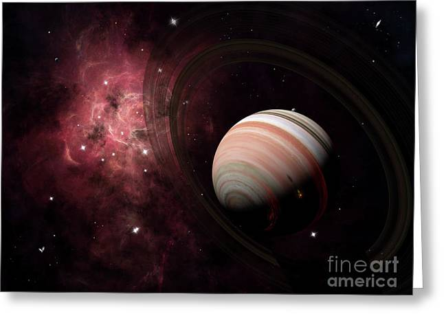 The Gas Giant Carter Orbited By Its Two Greeting Card by Brian Christensen