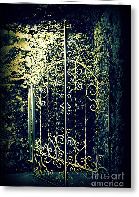 The Gate In The Grotto Of The Redemption Iowa Greeting Card