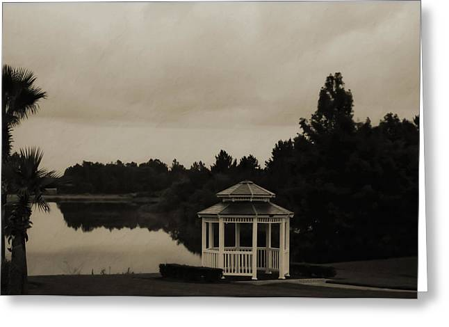 Greeting Card featuring the photograph The Gazebo At The Lake by DigiArt Diaries by Vicky B Fuller