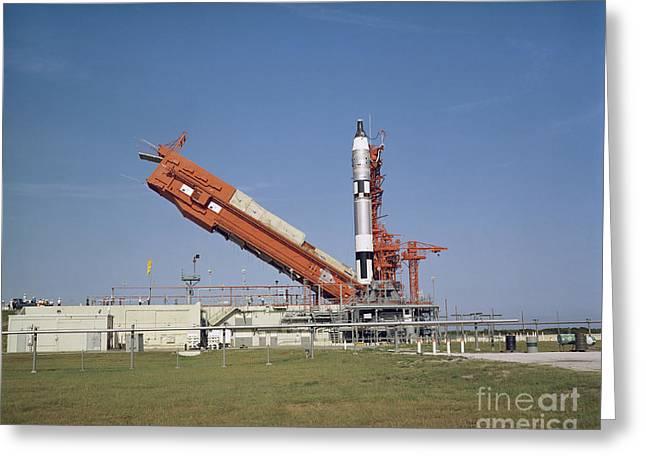 The Gemini 5 Spacecraft Is Prepared Greeting Card by Stocktrek Images