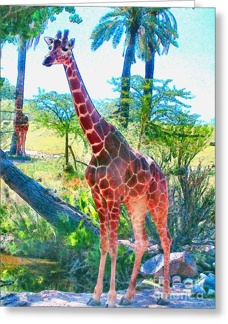 Greeting Card featuring the painting The Gentle Giraffe by Elinor Mavor
