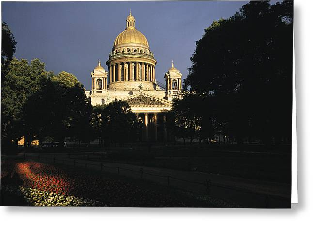 The Gilded Dome Of St. Isaacs Dominates Greeting Card