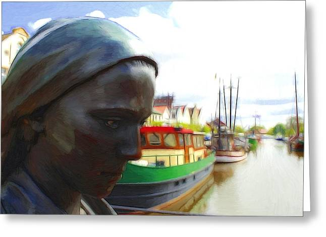 The Girl At The Harbor Greeting Card by Steve K