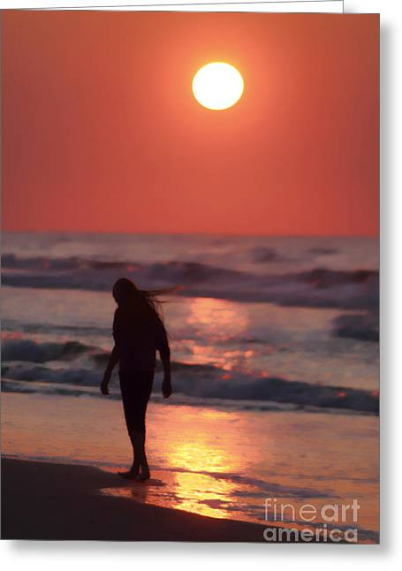 The Girl On The Beach Greeting Card