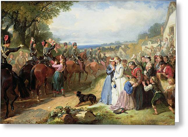 The Girls We Left Behind Us - The Departure Of The 11th Hussars For India Greeting Card by Thomas Jones Barker