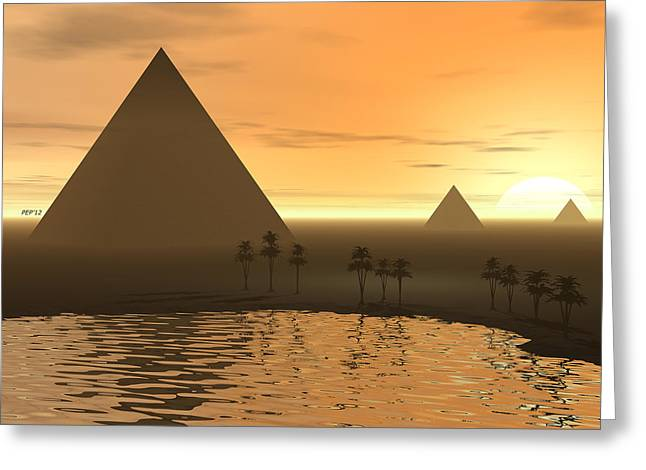 Greeting Card featuring the digital art The Giza Necropolis by Phil Perkins