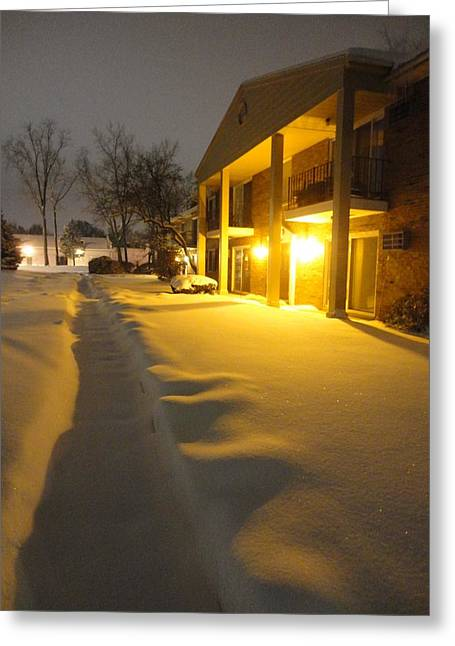 The Glow Of Golden Snow Greeting Card by Guy Ricketts