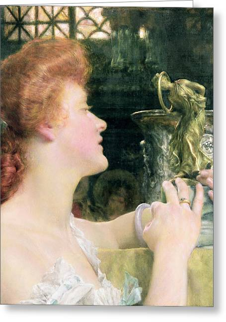 The Golden Hour Greeting Card by Sir Lawrence Alma-Tadema