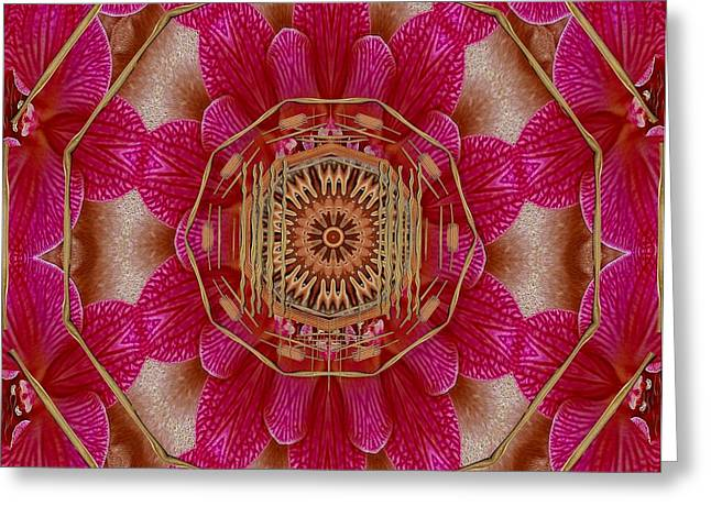 The Golden Orchid Mandala Greeting Card