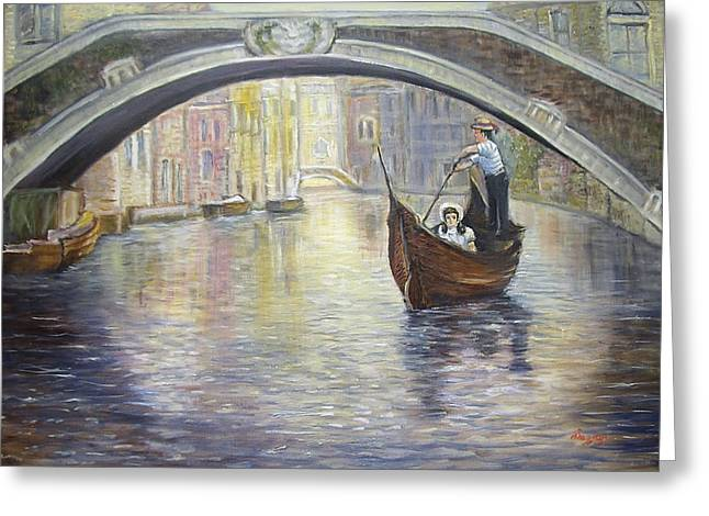 Greeting Card featuring the painting The Gondolier Venice Italy by Luczay