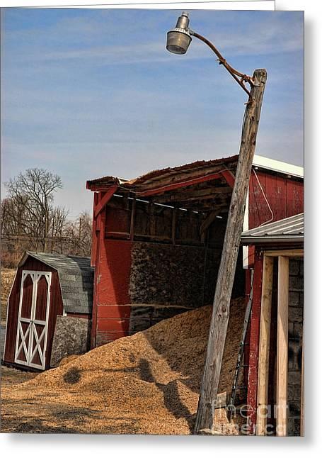 The Grain Barn Greeting Card by Paul Ward