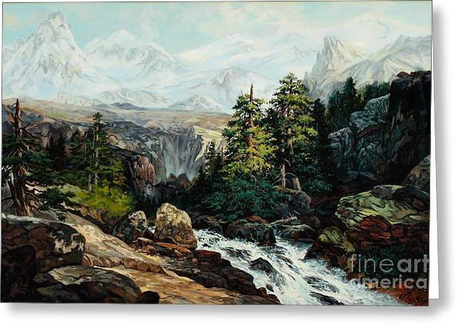 The Grand Tetons By Thomas Moran Study By W Scott Fenton Greeting Card by W  Scott Fenton