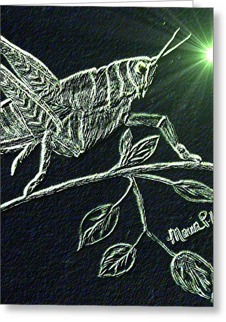 Greeting Card featuring the drawing The Grasshopper by Maria Urso