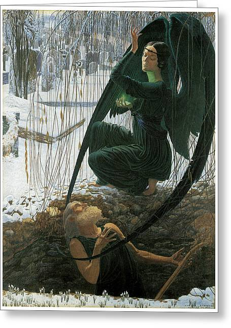The Grave Digger's Death Greeting Card by Carlos Schwabe