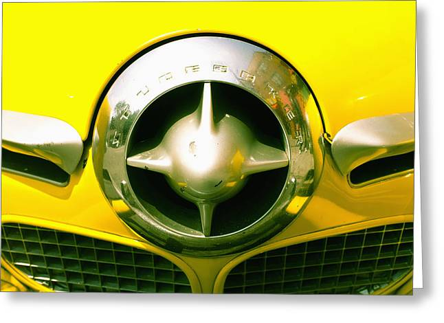 The Grill Of A Yellow Studebaker Car Greeting Card by David DuChemin