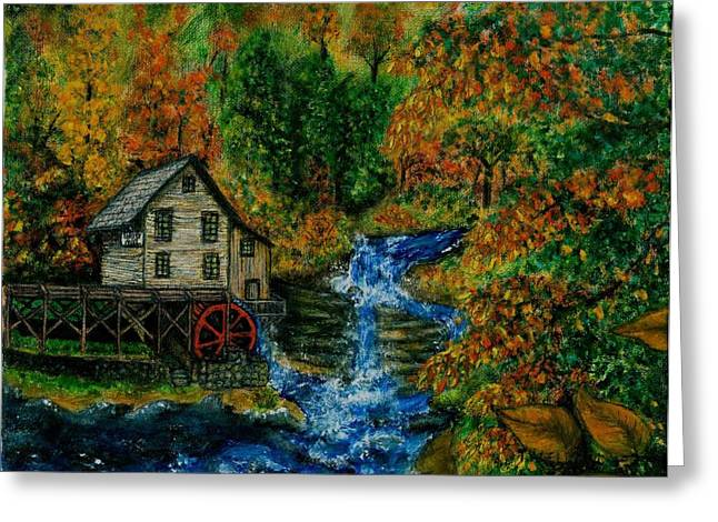 The Grist Mill In Autumn Greeting Card by Tanna Lee M Wells