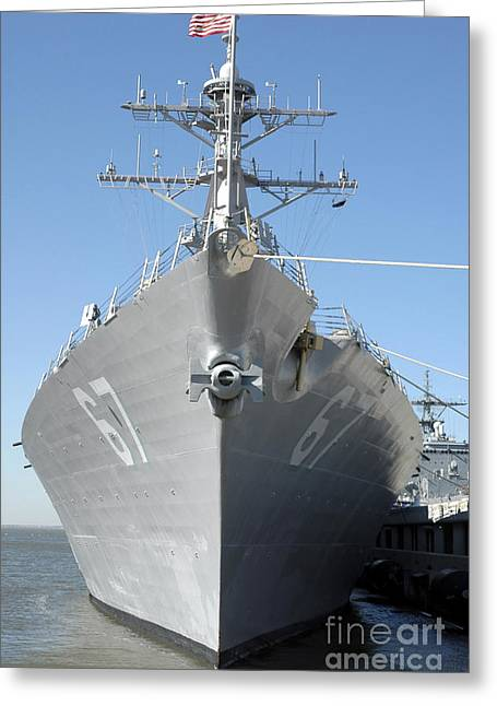 The Guided Missile Destroyer Uss Cole Greeting Card by Stocktrek Images