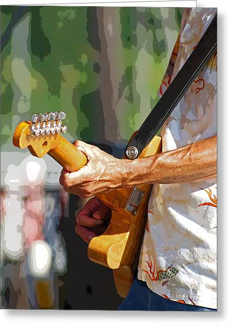 The Guitar Player Greeting Card by Margie Avellino