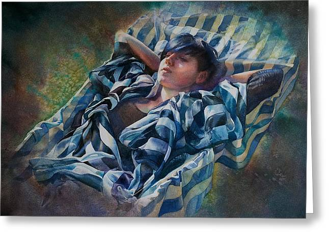 The Hammock Greeting Card by Gilly Marklew