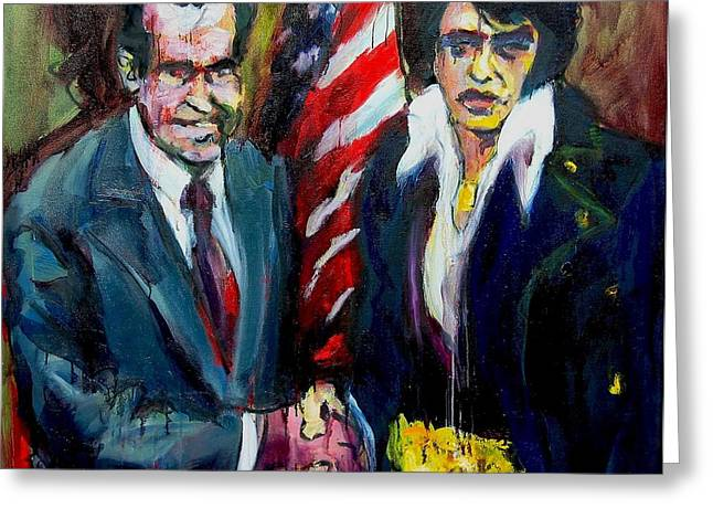 Greeting Card featuring the painting The Hand Shake by Les Leffingwell