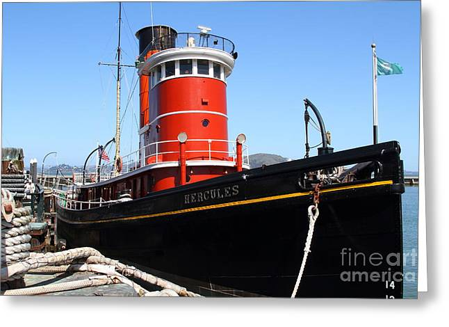 The Hercules . A 1907 Steam Tug Boat At The Hyde Street Pier In San Francisco California . 7d14141 Greeting Card by Wingsdomain Art and Photography