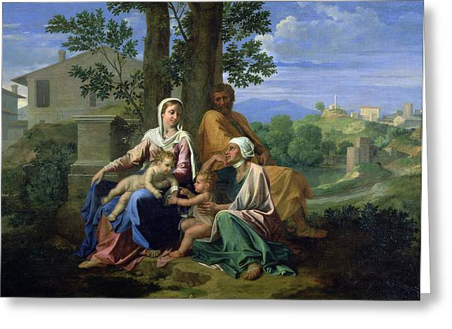 The Holy Family With Ss John Elizabeth And The Infant John The Baptist Greeting Card
