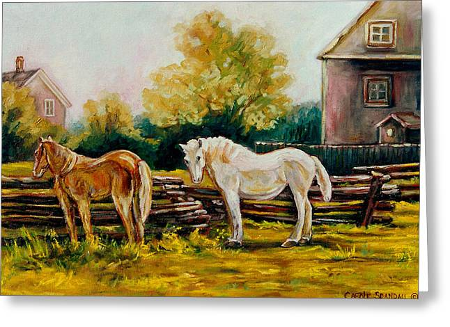 The Horse Ranch Eastern Townships Quebec Greeting Card by Carole Spandau