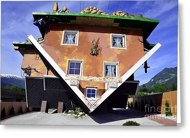 The House Upside Down Greeting Card