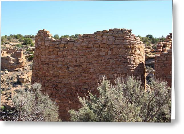 The Hovenweep Twin Towers Greeting Card by Cynthia Cox Cottam