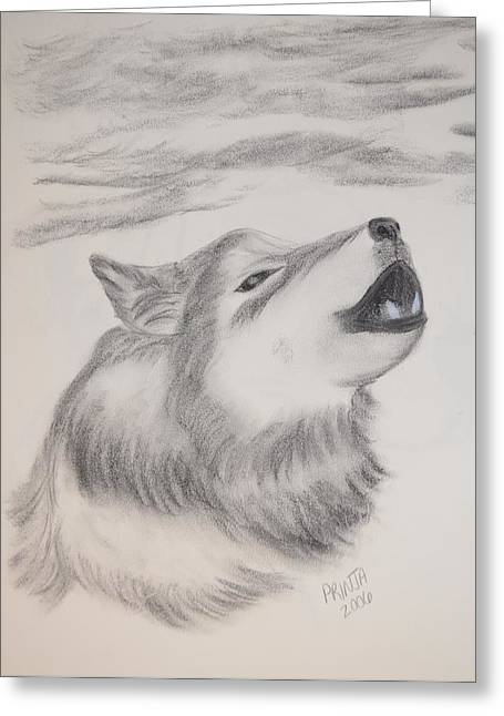 Greeting Card featuring the drawing The Howler by Maria Urso