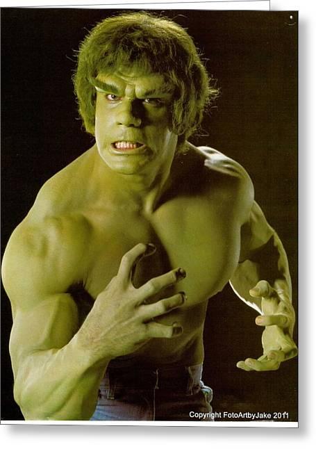 The Hulk  Greeting Card by Jake Hartz